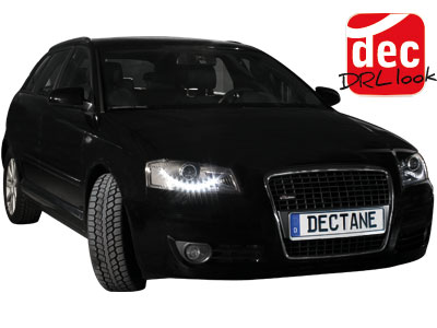 dectane audi a3 8p scheinwerfer set dayline schwarz audi. Black Bedroom Furniture Sets. Home Design Ideas