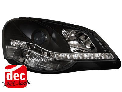 VW Polo 9N3 DRL LED Headlights Dayline black